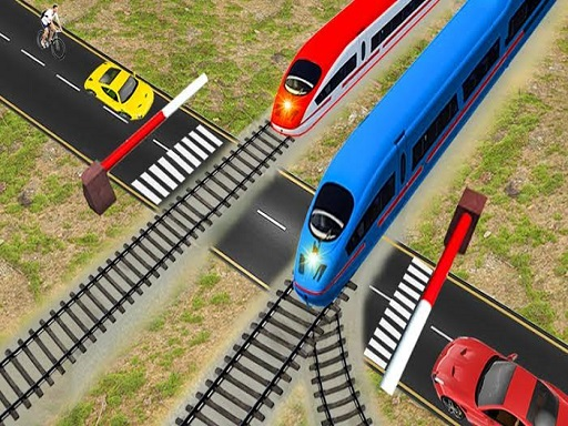 Euro Railroad Crossing  Railway Train Passing 3D